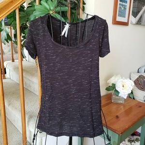 High low Tee shirt black and white size medium